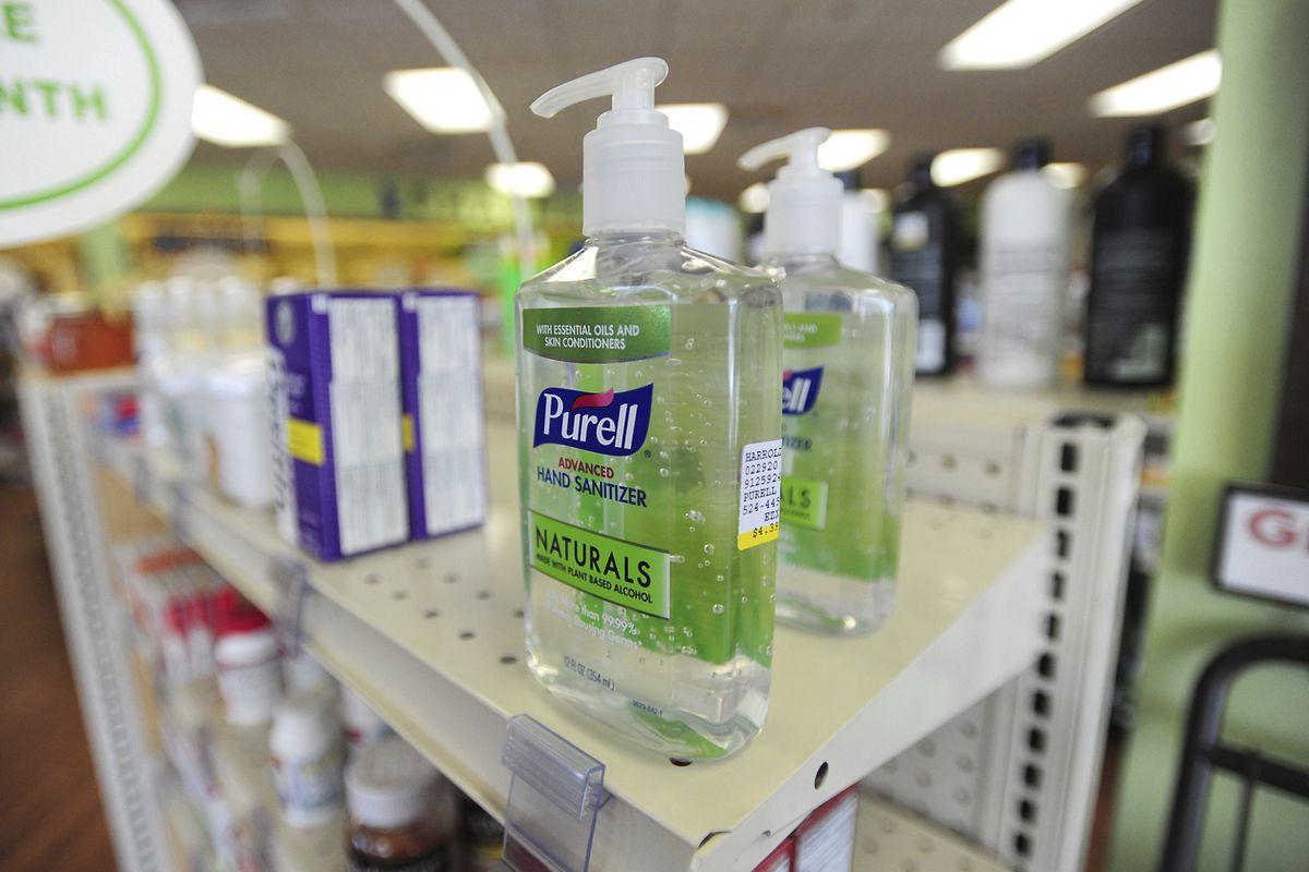 Bottles of Purell Hand Sanitizer sit on the shelf at Harrold's Pharmacy in Pennsylvania.