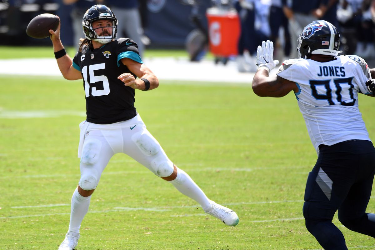 Jacksonville Jaguars quarterback Gardner Minshew attempts a pass during the first half against the Tennessee Titans at Nissan Stadium.