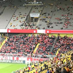 The away section where Bayern Munich's fans were seated, August 3, 2019.