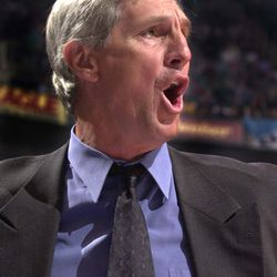 Jazz head coach Jerry Sloan disagrees with a call during the semifinals against the Portland Trail Blazers at the Delta Center on Thursday, May 11, 2000.