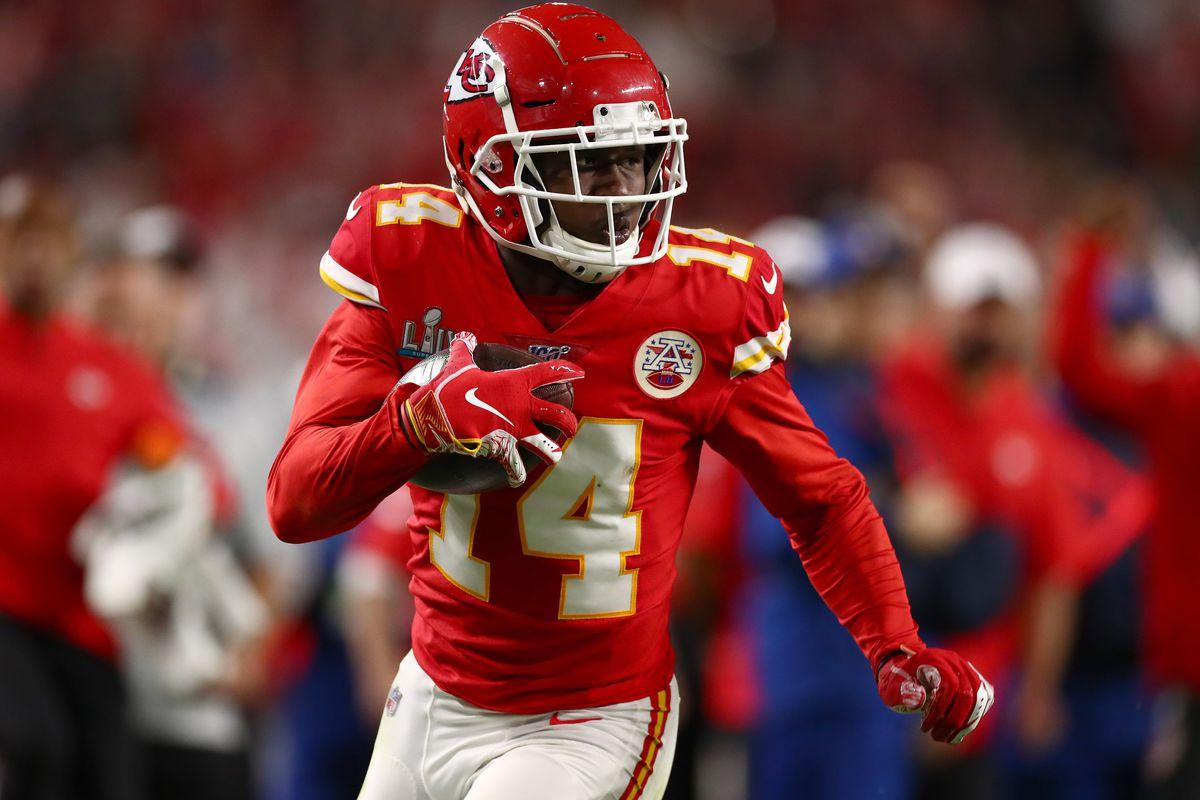 Kansas City Chiefs receiver Sammy Watkins (14) runs after a reception against the San Francisco 49ers in Super Bowl LIV at Hard Rock Stadium.
