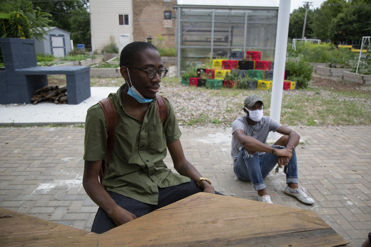 alt_ cofounders, Jon Veal, left, and Jordan Campbell, right, wait for their fellow organizers near the alt_ Market in Grand Crossing, Wednesday, July 15, 2020.   Anthony Vazquez/Sun-Times