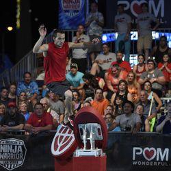"Utah resident Karson Voiles competes during the Las Vegas national finals on ""American Ninja Warrior."""