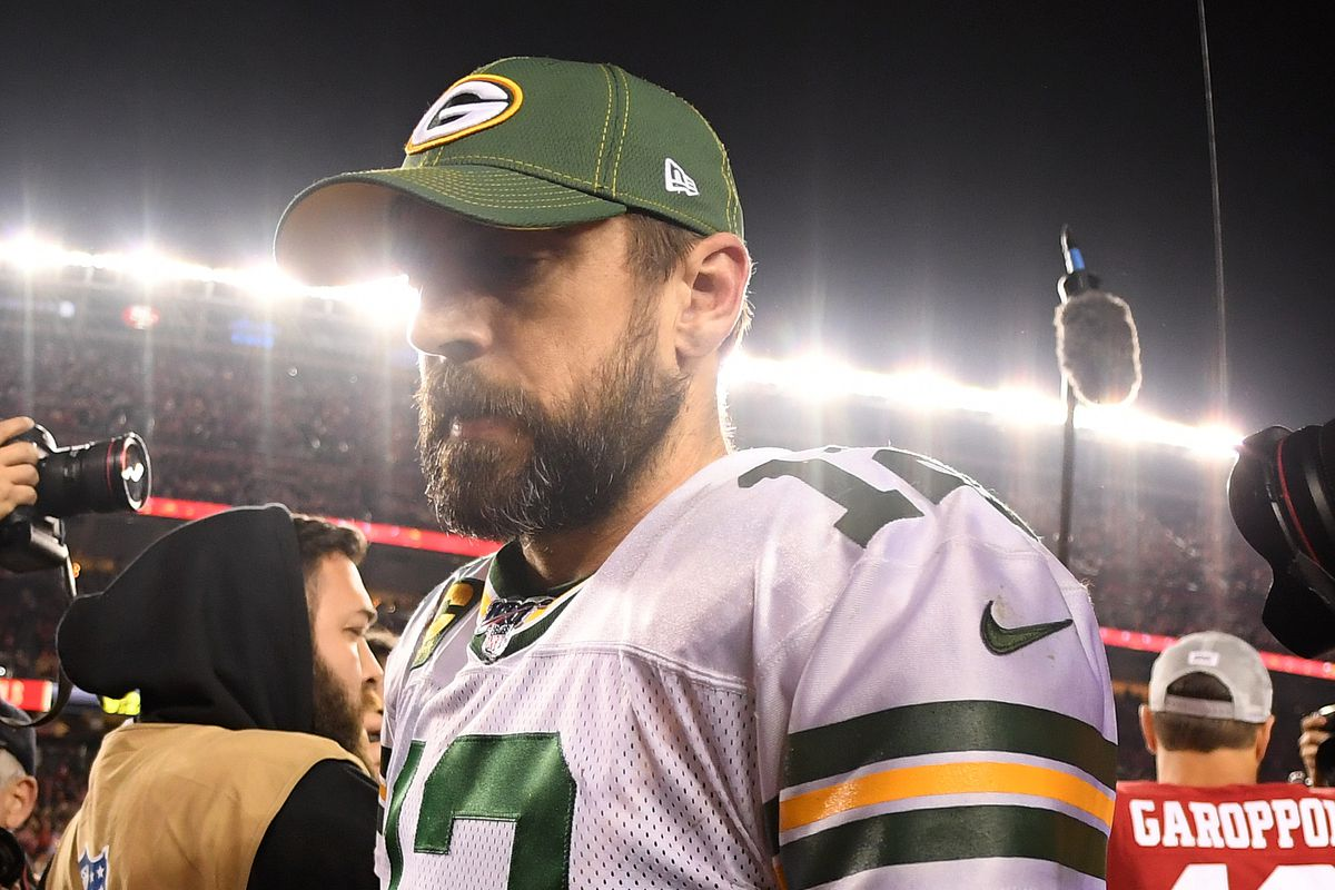 Aaron Rodgers of the Green Bay Packers walks off the field after losing the NFC Championship game against the San Francisco 49ers at Levi's Stadium on January 19, 2020 in Santa Clara, California.