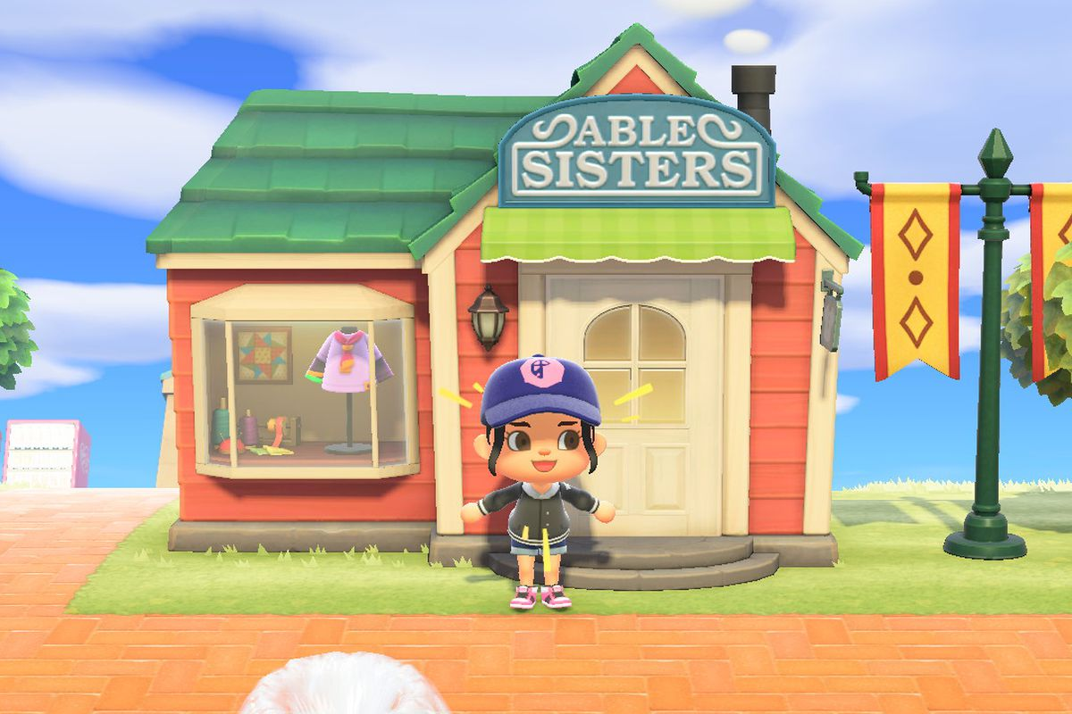 An Animal Crossing character excitedly yelling in front of the Able Sisters shop
