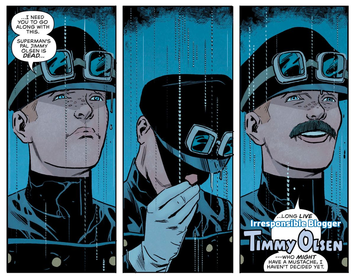 Jimmy Olsen completes his transformation into his new alias, Irresponsible Blogger Timmy Olsen, who might have a mustache, he hasn't decided yet, in Superman's Pal Jimmy Olsen #3, DC Comics (2019).
