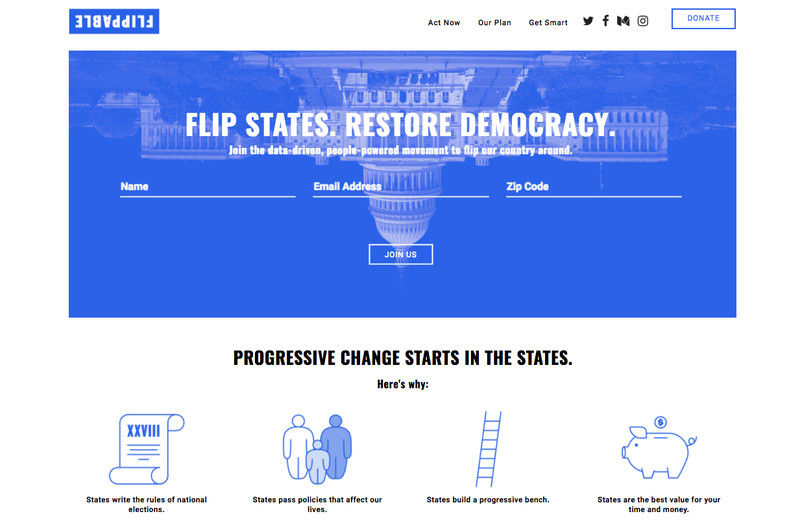 A screen cap of the homepage of Flippable, which has an upside down photo of the Capitol building in DC at the top, rendered in blue and white.