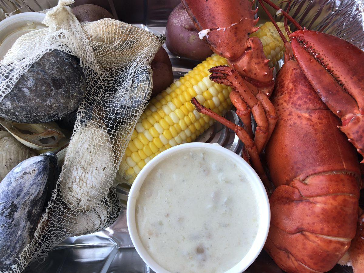 Lobster, chowder, corn and shellfish.