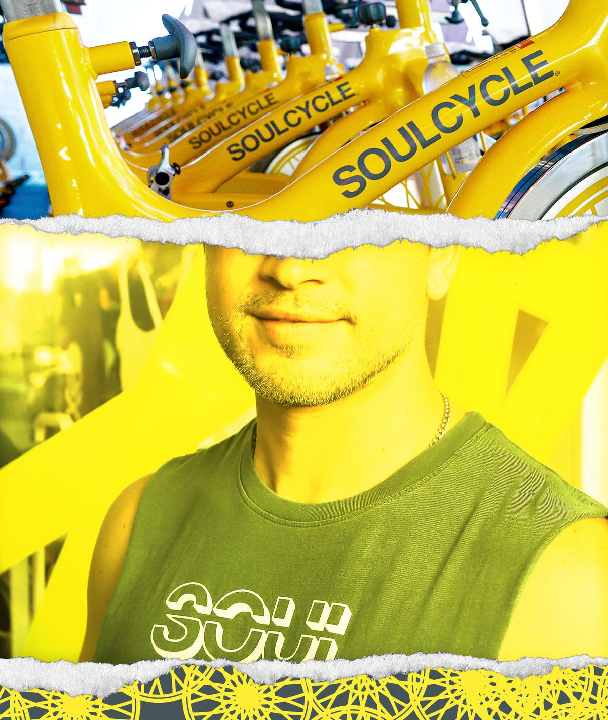 A man in a SoulCycle tank with bikes