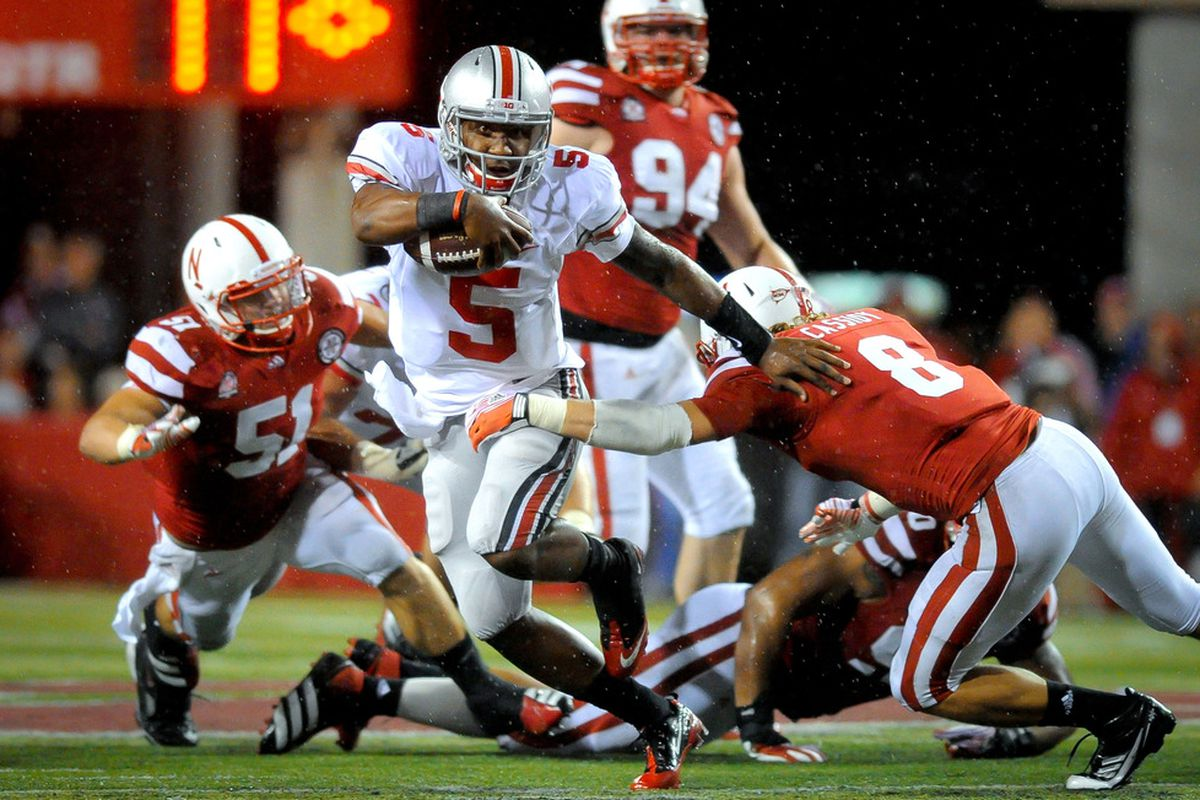 While Braxton Miller was in the game, Nebraska had a hard time containing Ohio State. (Photo by Eric Francis/Getty Images)