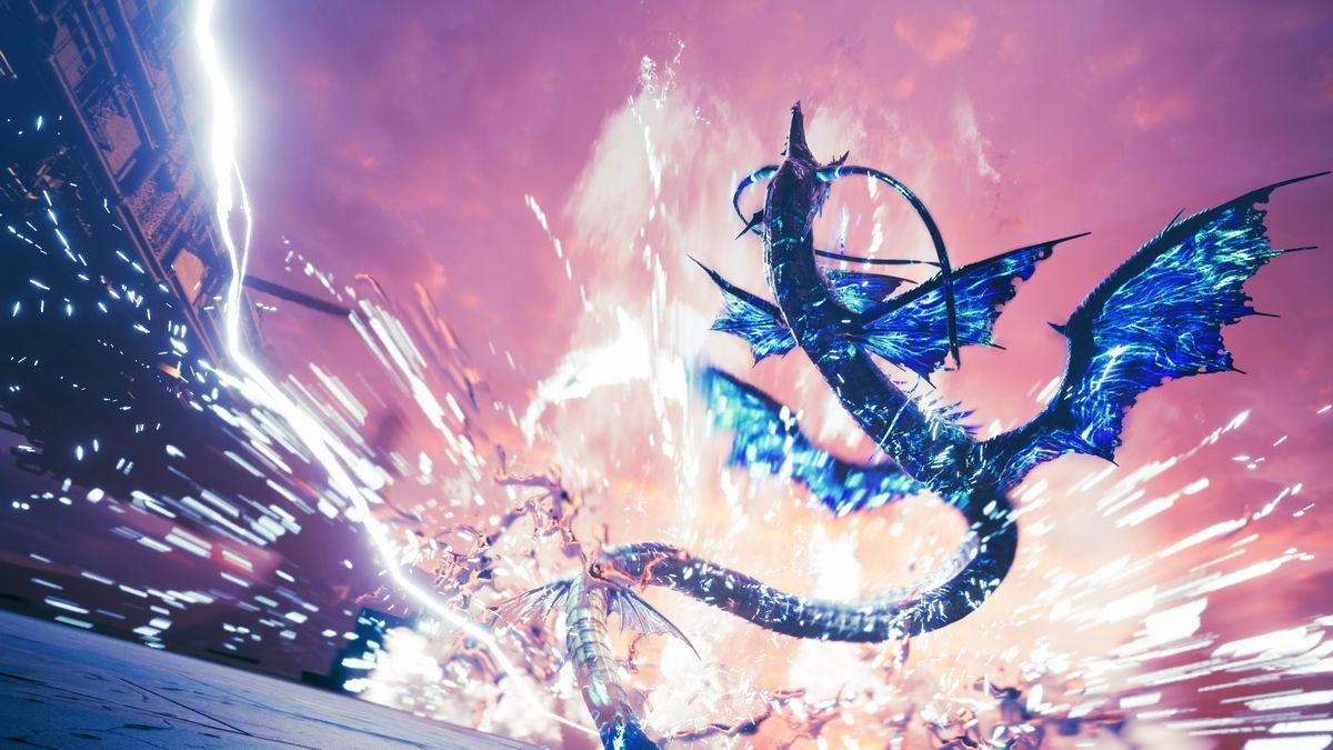 Huge monsters do battle across a purple sky