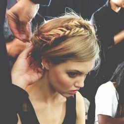 """This is the look that I created and called """"Frida"""" (after Kahlo, naturally). Playful braids with undone texture give this look a modern twist."""