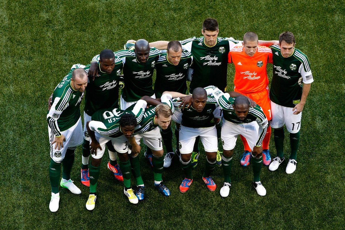 PORTLAND, OR - JULY 03:  The  Portland Timbers pose for a photo before the game against the San Jose Earthquakes on July 3, 2012 at Jeld-Wen Field in Portland, Oregon.  (Photo by Jonathan Ferrey/Getty Images)