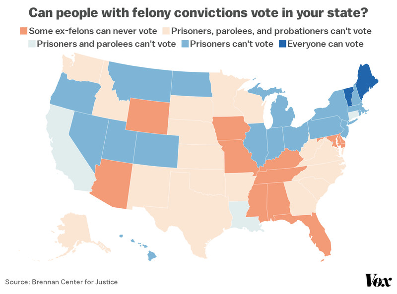 A map of voting rights for people convicted of felonies.