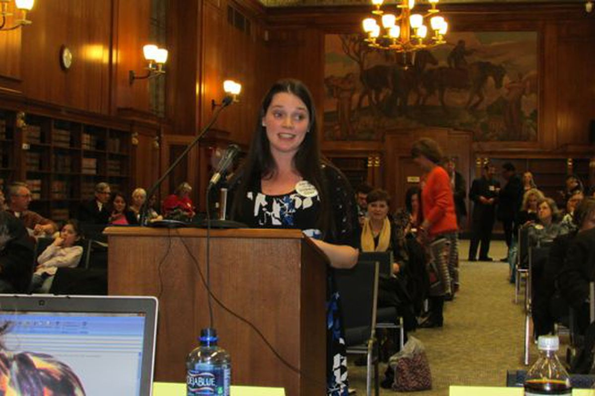 Emily Camenisch came from more than two hours from Corydon to tell state board members draft standards were too much like Common Core standards at the Indiana State Library. (Scott Elliott)