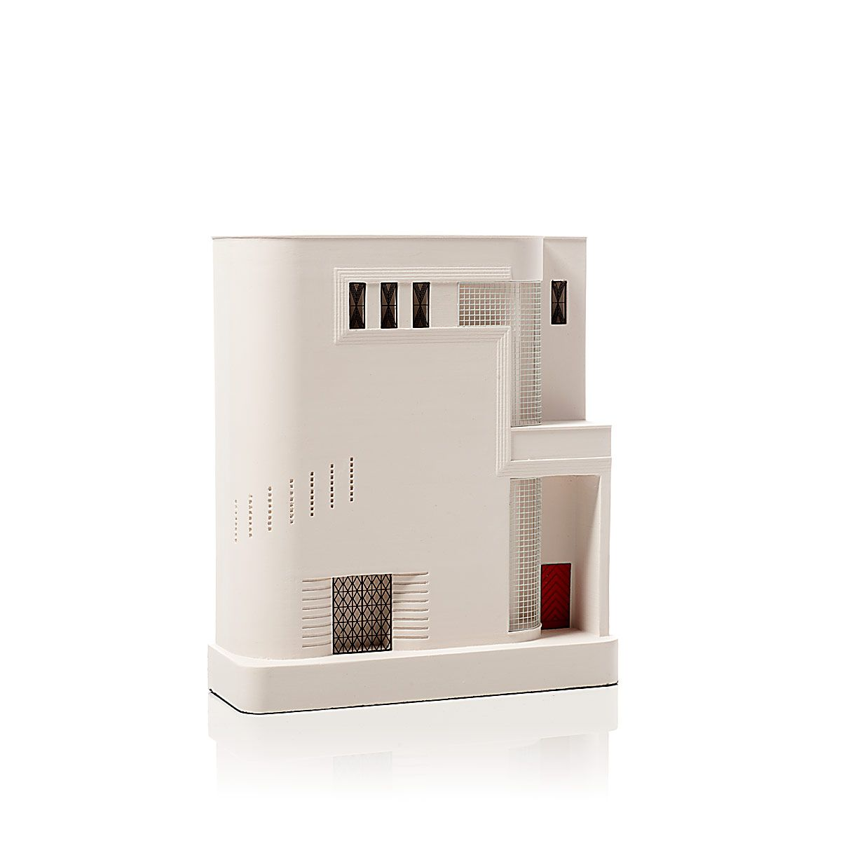 A plaster replica of an apartment building