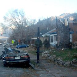 Strong winds broke apart  trees and caused widespread damage Thursday morning, Dec. 1, 2011 at 25th and Harrison Ogden.