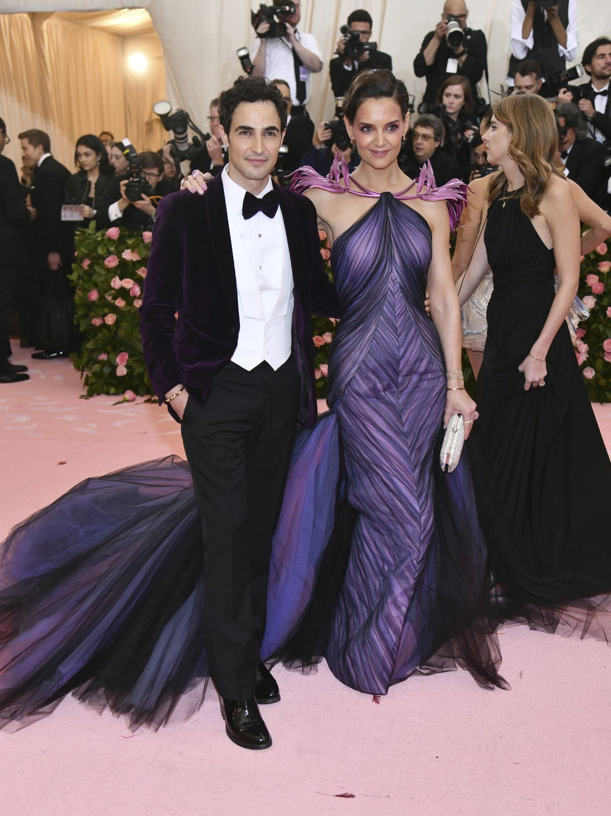 Designer Zac Posen, left, and Katie Holmes attend The Metropolitan Museum of Art's Costume Institute benefit gala in May.