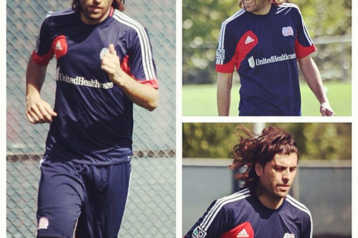 Juan Toja training with the New England Revolution on September 10th, 2012. Photo courtesy of the NERevolution Flickr account.