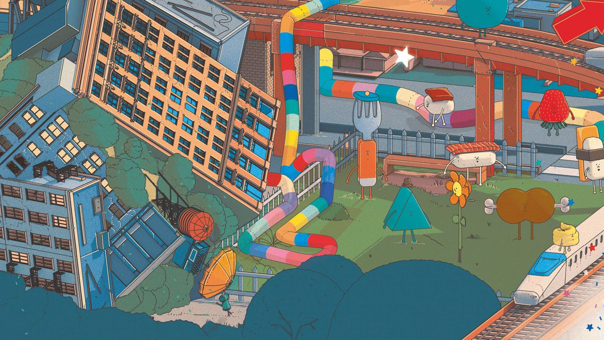 Artwork shows the prince from Katamari Damacy rolling up buildings and trees