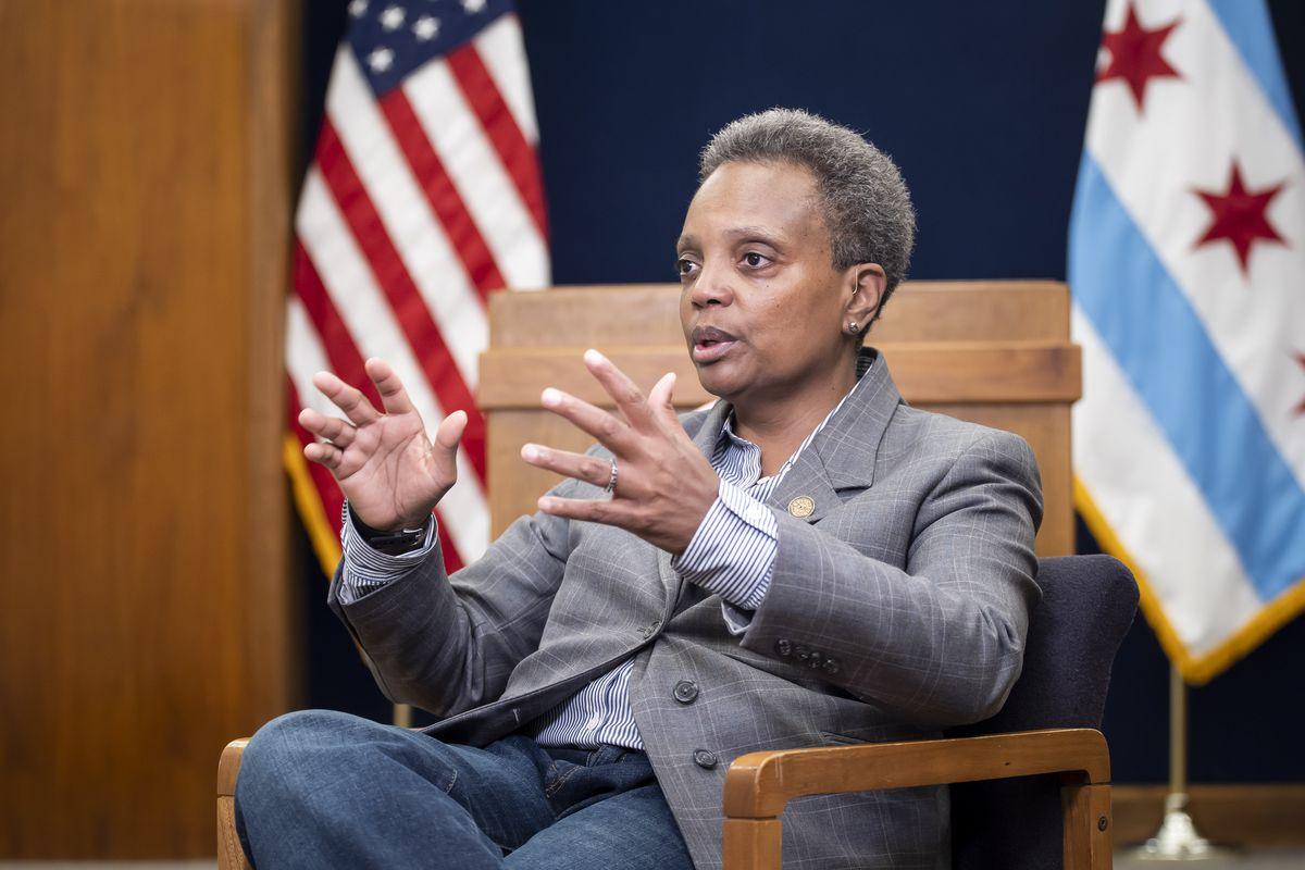 Mayor Lori Lightfoot is interviewed at City Hall by reporter Fran Spielman Friday, October 18, 2019. | Rich Hein/Sun-Times
