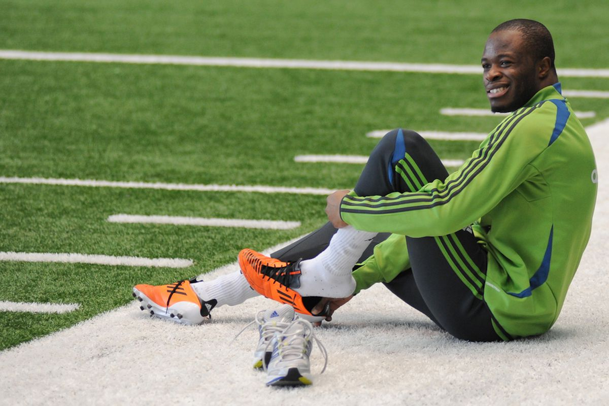 """Steve Zakuani during the first days of training. He's come a long way and that first time with the first team approaches. (Photo by Chris Coulter/ <a href=""""http://www.SoundersPhotos.com"""" target=""""new"""">www.Soundersphotos.com</a>)"""
