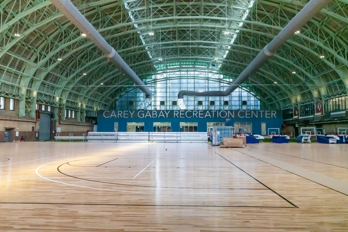 The nearly finished CAREY GABAY RECREATION CENTER in Crown Height's former Bedford Union Armory, part of a controversial residential development.