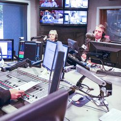KSL Newsradio's Doug Wright, left, asks a question of Democrat Dr. Kathie Allen, second from left, United Utah's Jim Bennett and Republican John Curtis during an on-air debate between 3rd Congressional District candidates in Salt Lake City on Tuesday, Oct. 10, 2017. The candidates are vying to fill the remaining year of former GOP Rep. Jason Chaffetz's term. Chaffetz, now a Fox News contributor, resigned June 30.