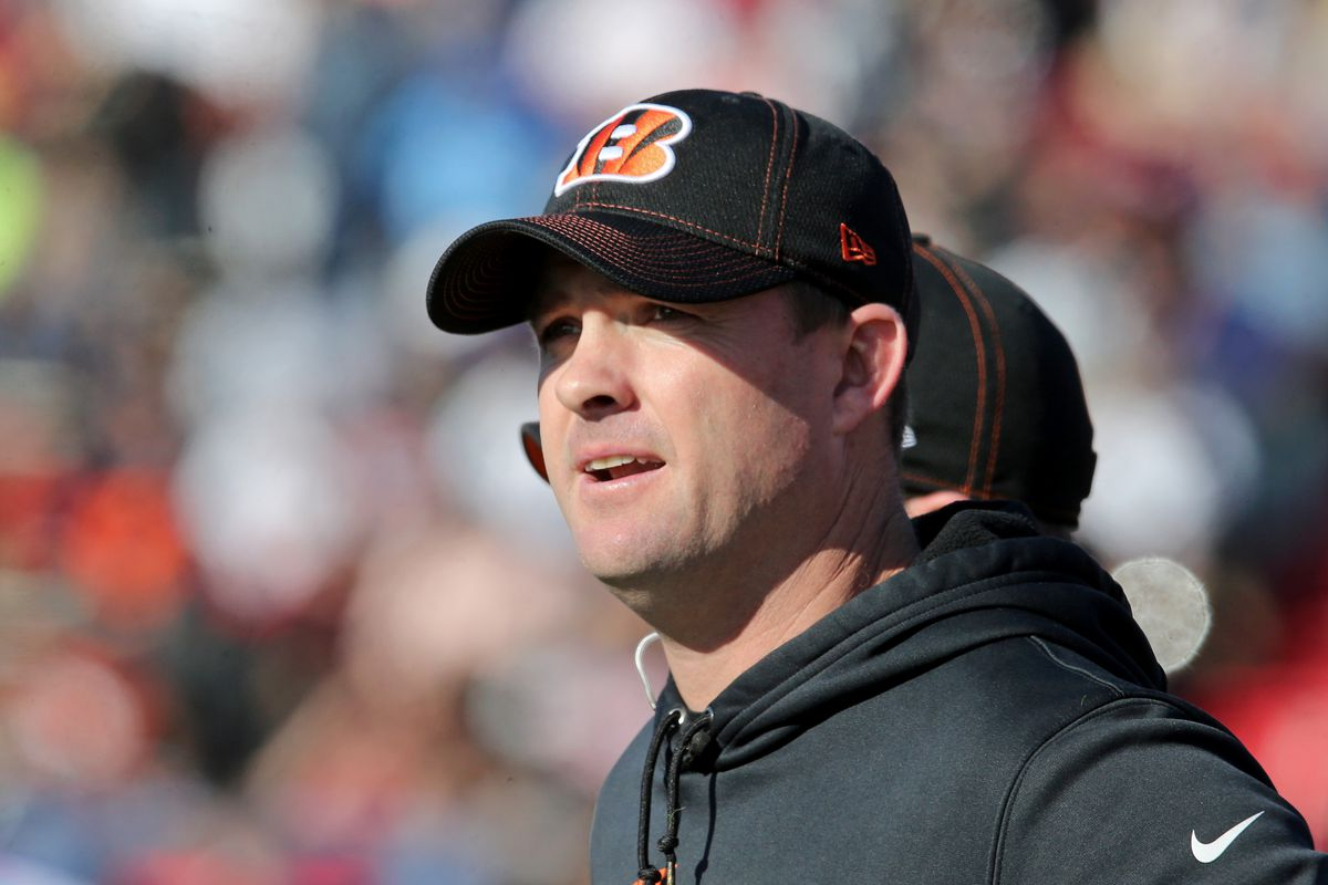 South squad head coach Zac Taylor of the Cincinnati Bengals in the first half of the 2020 Senior Bowl college football game at Ladd-Peebles Stadium.
