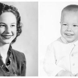Matt Heninger pictured as a baby next to a picture of his biological mom, Lucile Mildred Ward.