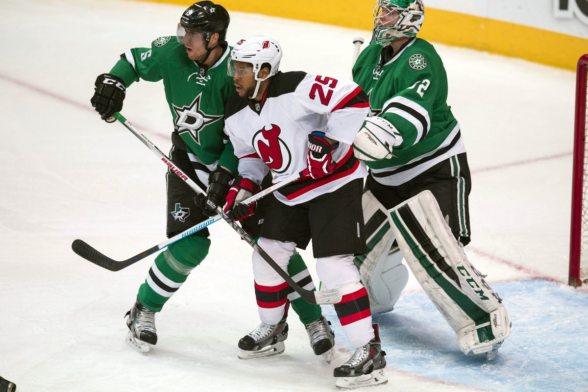 Devante Smith-Pelly is seen here in front, hoping to take a rebound shot eventually.  But how well have the Devils done this season with rebound shots?