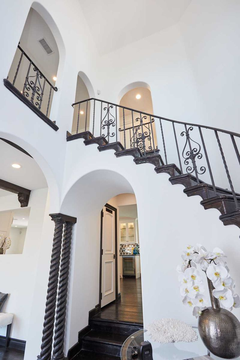 Front entry with winding staircase