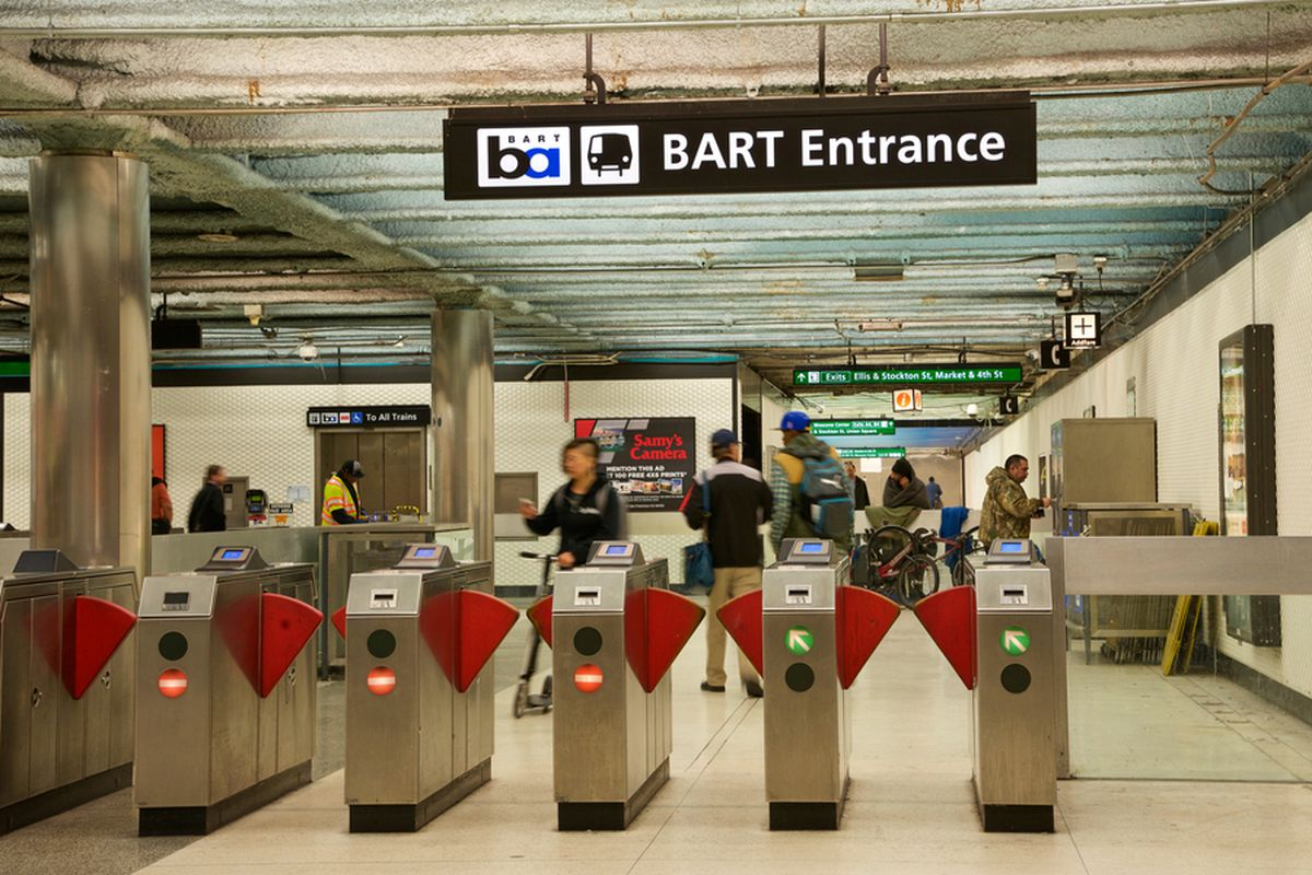 Fare gates at Powell Street BART station.