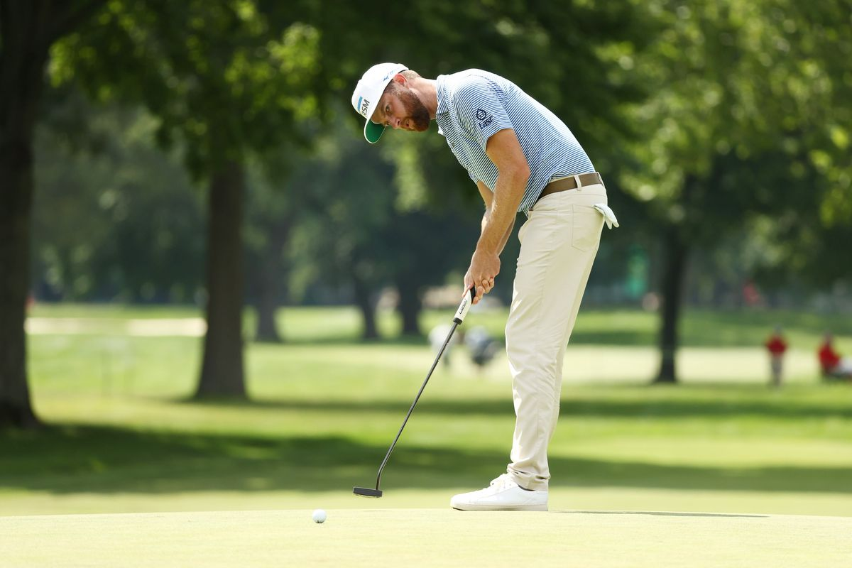 Chris Kirk of the United States putts on the 16th green during the second round of the Rocket Mortgage Classic on July 03, 2020 at the Detroit Golf Club in Detroit, Michigan.