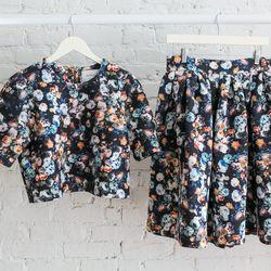Dahlia floral print boxy top, $149; Midi skirt, $169
