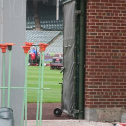 Grounds crew working inside -
