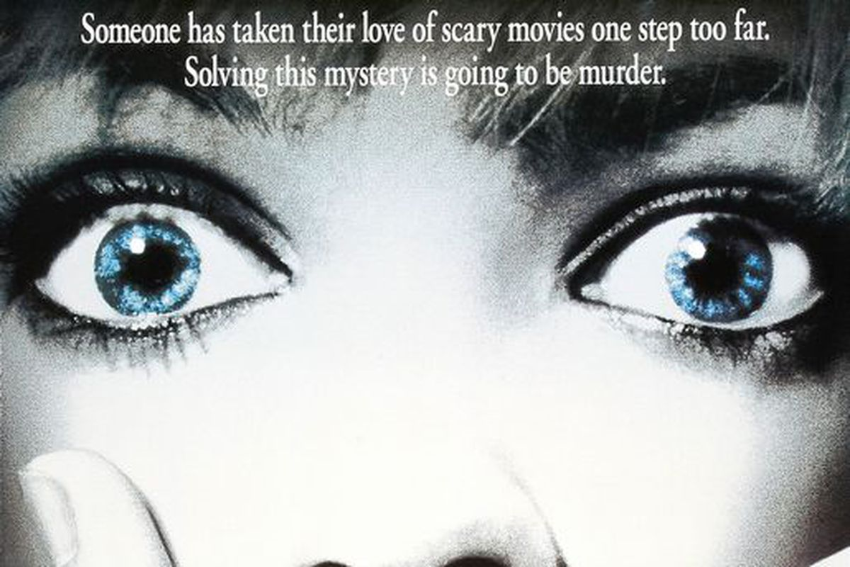 """The poster for the movie """"Scream"""" features a close-up of a face with a hand over the mouth."""