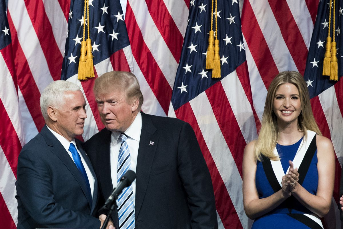 Ivanka Trump with Donald Trump and Mike Pence