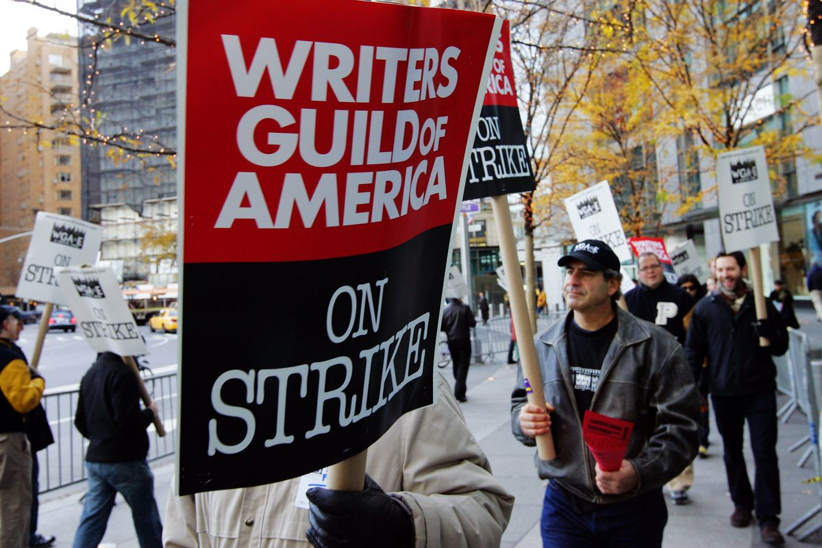 Striking Writers Rally At Time Warner Center In New York