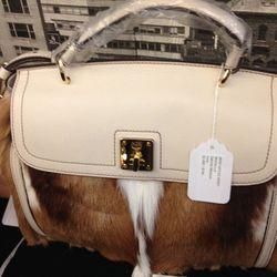 Leather and Pony Satchel, $744