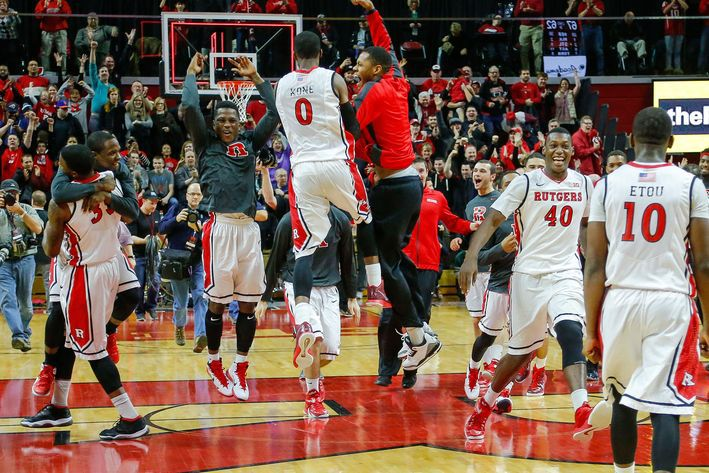 Rutgers celebrates after upsetting Wisconsin. (Jim O'Connor-USA TODAY Sports)