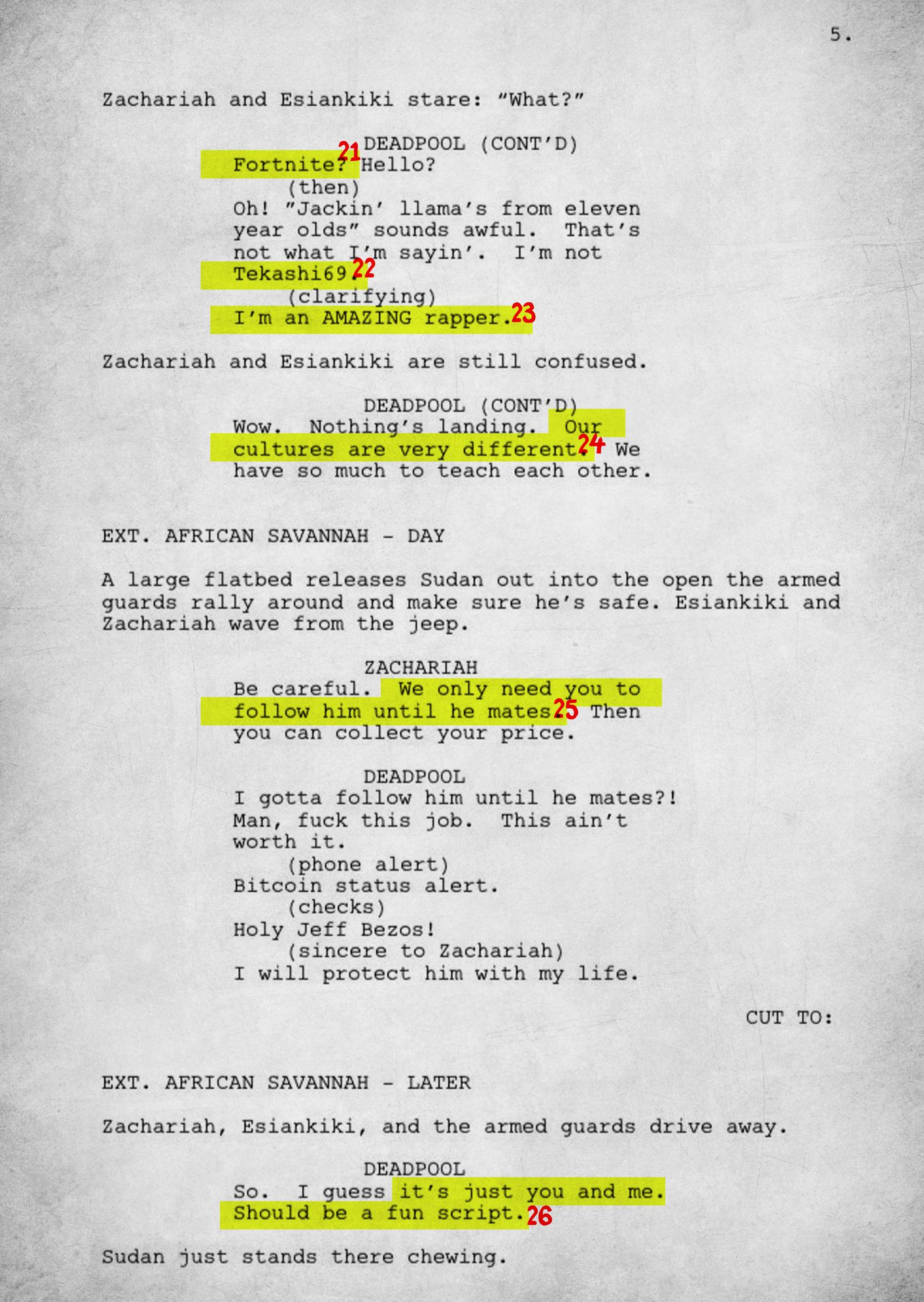 An Annotated Version of Donald Glover's 'Deadpool' Script - The Ringer