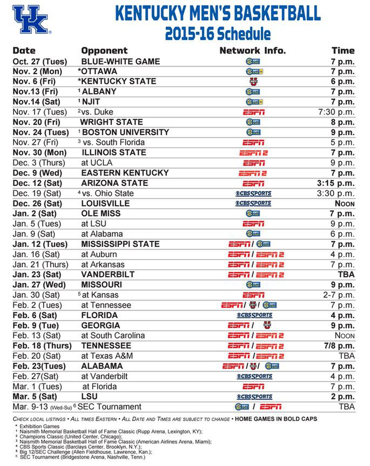 It is an image of Genius Kentucky Basketball Schedule Printable