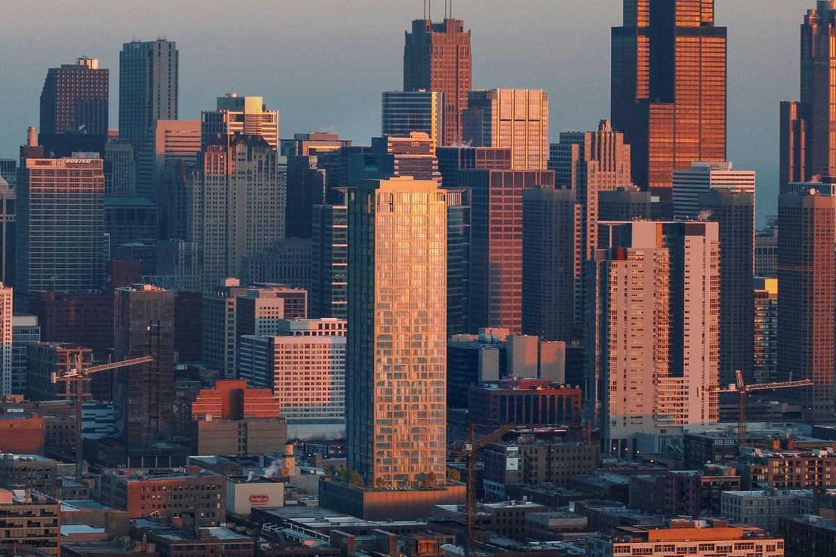 A rendering shows the planned 43-story tower at 906 W. Randolph St. in the center foreground.