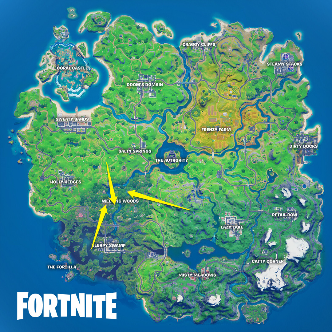 The locations of Wolverine's claw marks from the week one season 4 Fortnite challenge
