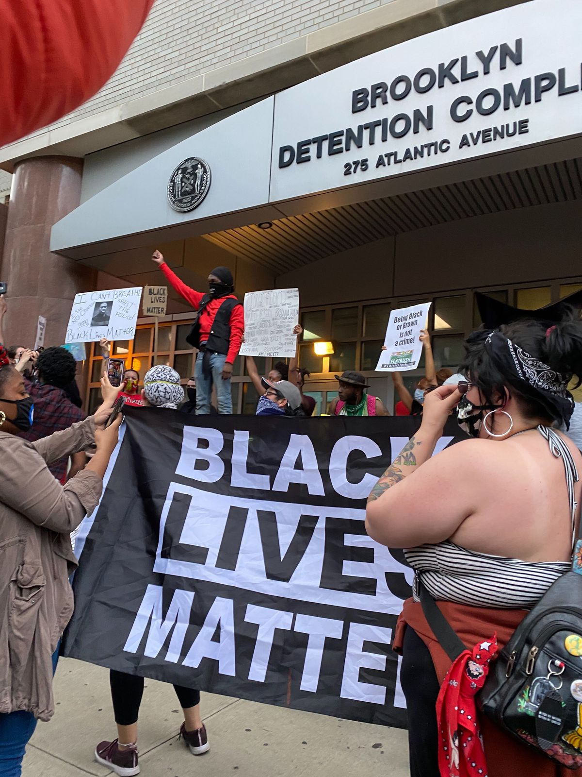 Protesters gather outside the city jail in Brooklyn, May 30, 2020