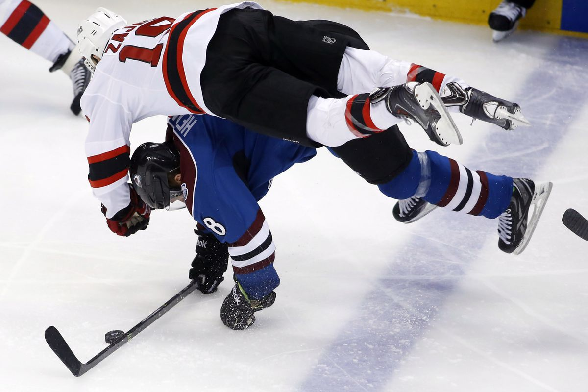 Pictured: A really unsuccessful zone entry - if Colorado retained the puck after this hit.