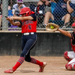 Springville's Ryann Haveron (6) strikes out while Spanish Fork 'sAshlynn Losee (10) catches the ball during the 5A softball quarterfinals at Spanish Fork Sports Park in Spanish Fork on Tuesday, May 25, 2021.