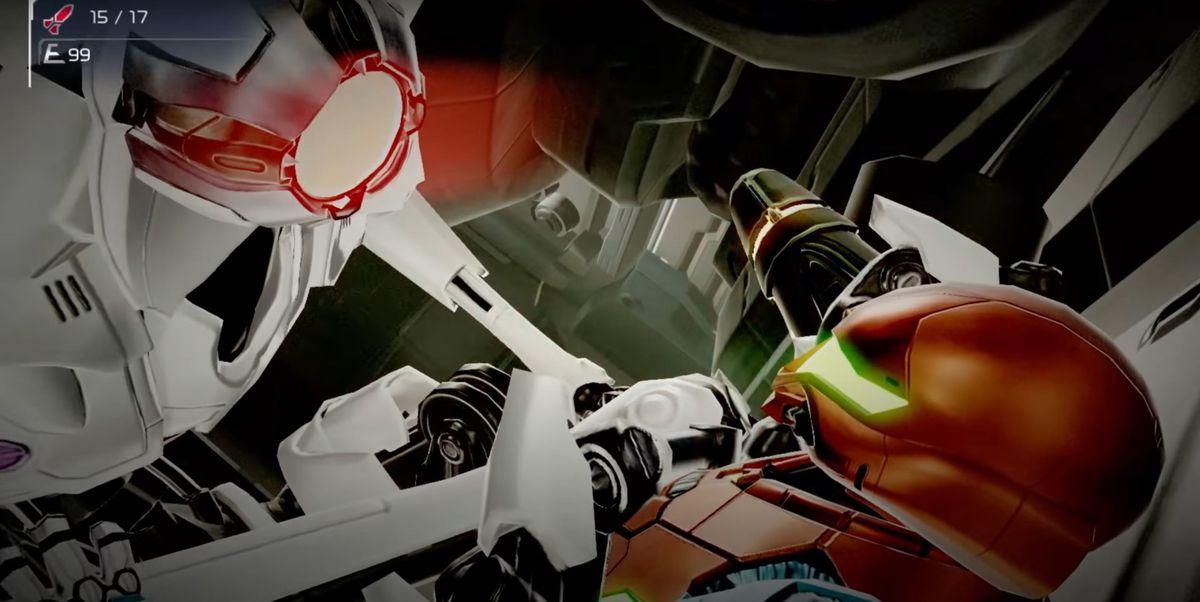 One of the EMMI pins Samus Aran down in Metroid Dread