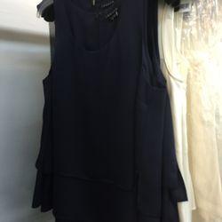 Light navy sleeveless top $89 (was $215)